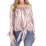 UONQD Women Cold Shoulder Stripe Print Bandage Flare Sleeve Tops Blouse (XXX-Large,X-Pink)