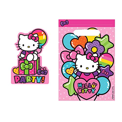 - Hello Kitty Rainbow Balloon Birthday Party Invitation Loot Bag 16 Count Set