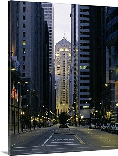 Canvas On Demand Premium Thick-Wrap Canvas Wall Art Print entitled Buildings in a city, LaSalle Street, Chicago Board Of Trade, Chicago, Illinois 11