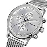 YISUYA Watches Chronograph Men's Quartz Watch Stainless Steel Mesh Band Sports Wristwatches