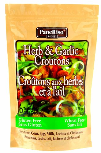 PaneRiso Foods Herb & Garlic Croutons, 6- Ounce Pouch (Pack of 6)