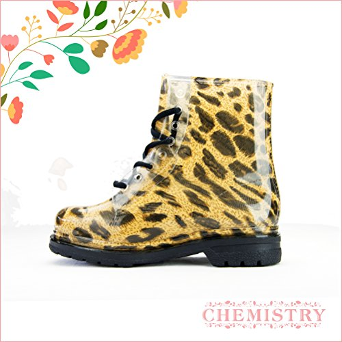 US Ankle Jelly Leopard 8 Rain Chemistry Clear Transparent M Martin Boots Flat Womens B 5qvTYO