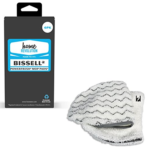 Home Revolution 6 Steam Cleaner Mop Pads, Fits Bissell PowerFresh 1940 Series Models 19402, 19404, 19408, 1940A, 1940Q, 1940T