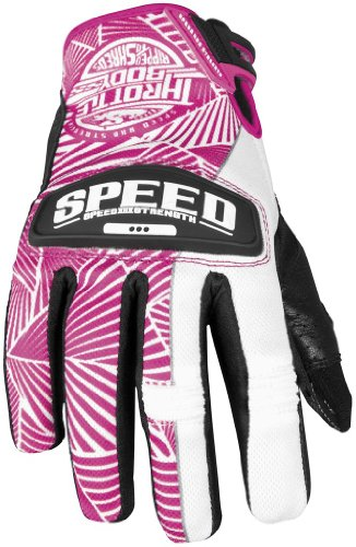 Speed and Strength Womens Throttle Body Leather Mesh Gloves 2013 Pink White L/Large (Body Strength Womens Throttle)