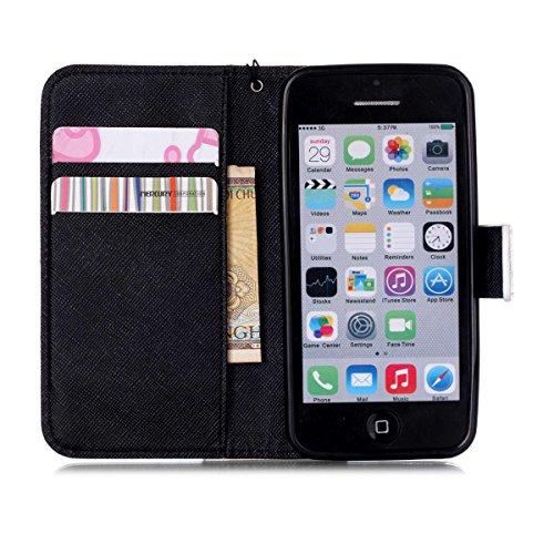 iPhone 5C Coque , Apple iPhone 5C Coque Lifetrut® [ Black Dream Catcher ] [Wallet Fonction] [stand Feature] Magnetic snap Wallet Wallet Prime Flip Coque Etui pour Apple iPhone 5C