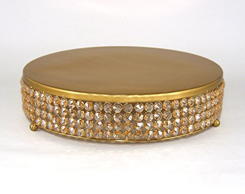 Wedding Champagne Colored Crystal Bead and Antique Gold Finish Metal Cake Stand 16''Diameter by Home Decoration Accessories