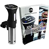 Sous Vide Thermal Immersion Circulator: Precision Cooker and Temperature Controller for Easy, Healthy & Even Cooking - BONUS 100 RECIPE PHYSICAL COOKBOOK - Black and Stainless, 120 Volts.