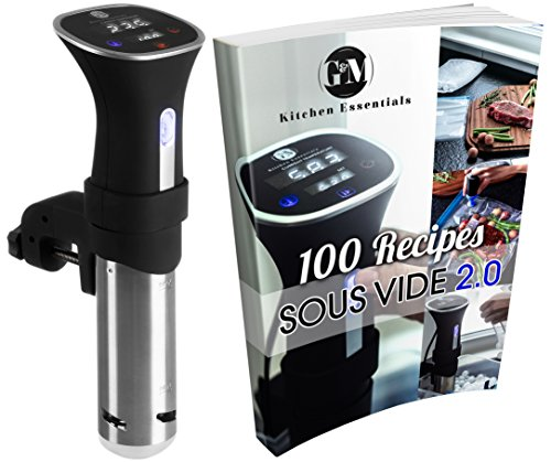 Sous Vide Thermal Immersion Circulator: Cooker and Temperature Controller for Easy, Healthy & Even Cooking – BONUS 100 Recipe E-Cookbook – Black and Stainless, 120 Volts