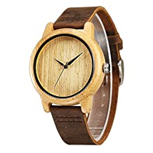 CUCOL Minimalist Mens Wooden Watches Brown Cowhide Leather Strap Wood Watch For Groomsmen