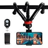 YHX Octopus Camera Phone Flexible Mini Tripod Camera Travel Tripod with Wireless Remote Shutter Compatible with iPhone, Android Phone, Camera and Go-pro