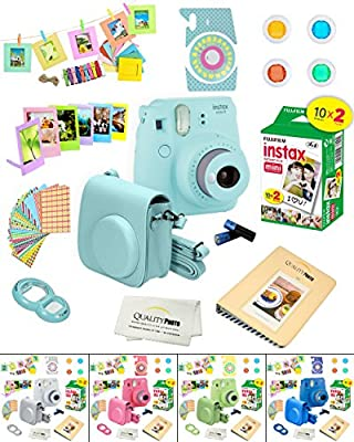 Fujifilm Instax Mini 9 Camera + Fuji INSTAX Instant Film (20 SHEETS) + 14 PC Instax Accessories kit Bundle, Includes; Instax Case + Album + Frames & Stickers + Lens Filters + MORE