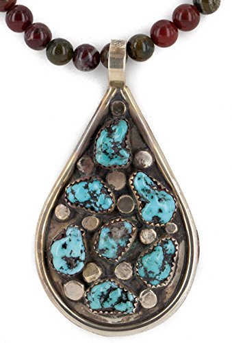 Handmade Certified Authentic Navajo Nugget Natural Turquoise Agate Native American Necklace ()