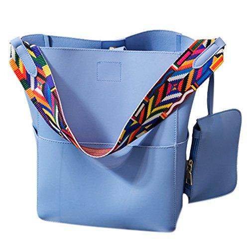 Yiwa Moda mujer PU cuero hombro Bolso Cruz bolso del cuerpo bolsa Azul