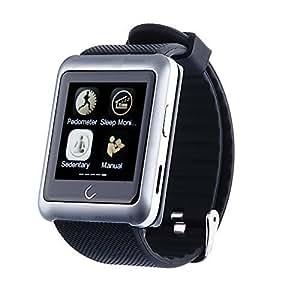 "TOKUYI® U11 Reloj Inteligente por Bluetooth Smart Watch Pulsera pantalla de 1.56"" con cámara para smartphone Ipoone 4 / 4S / 5 / 5C / 5S / 6 / 6S Android Samsung S2 / S3 / S4 / Nota 3.2 Nota HTC, Color Plata"