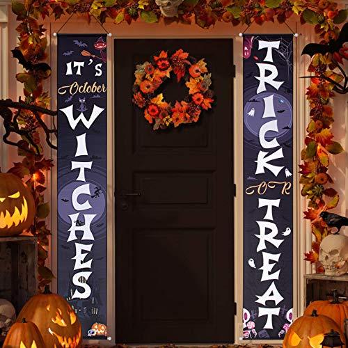 Halloween Door Decorations – Trick or Treat & It's October Witches Halloween Porch Decorations Halloween Hanging Signs…