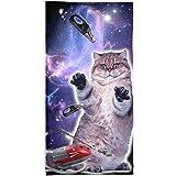 Galaxy Cat Vacuum Attack Sublimated Beach Towel