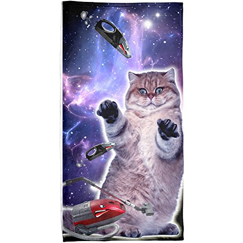 Galaxy Cat Vacuum Attack Sublimated Beach Towel by Animal World