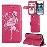Aipyy iPhone 5S Case,iPhone SE Cases,[Card Slots][Slim] Wallet Folio Style PU Leather Glitter Powder Flamingo Emboss Flip Case Kickstand Cover & Magnetic Closure for iPhone 5/5S/5SE [Rose]