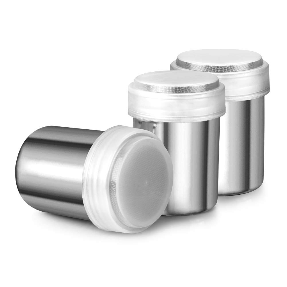 Accmor Stainless Steel Powder Shakers, Powder Shaker with Lid,Chocolate Shaker, Sifter For Sugar Pepper Powder Cocoa Flour, 3 Pcs by Accmor