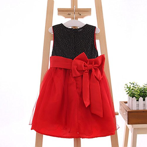 Chinatera Baby Girls Kids Summer Sleeveless Bow Princess Dress Party (3T(90-100cm Fit 2-3Y))