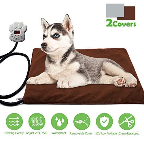 Cojín de Calefacción para Mascotas FOCHEA 15W Manta Eléctrica para Perros y Gatos con 7 Niveles de Temperatura Ajustable, 25~55℃, 2 Cubiertas de Muletón ...