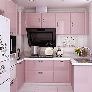 Yazi Gloss Self Adhesive Vinyl Kitchen Cupboard Door Cover Drawer Wardrobe Contact Paper 24x98 Inch Pink Amazon In Home Kitchen