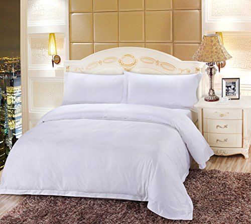 Tumei Hotel Luxury 1000 Thread Count 100% Egyptian Cotton Duvet Cover Set, Hidden Zipper Closure,Ultra Soft, durable and Fade Resistant, Queen, White