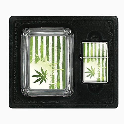 Vintage-Marijuana-S2-Custom-Glass-Ashtray-and-Flip-Top-Oil-Lighter-Gift-Set-420-Weed-Classic-Images