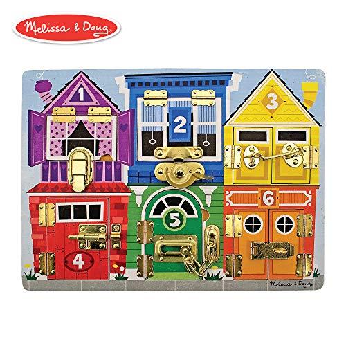 (Melissa & Doug Wooden Latches Board (Developmental Toy, Sturdy Wooden Construction, Helps Develop Fine Motor Skills, 15.5