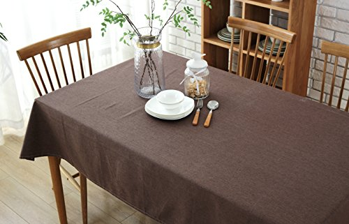 Wimaha 52x70In Rectangle Tablecloth for Wedding Rectangular Table, Cotton Linen Table Cloth, Fabric Table Cover Topper for Picnic, Home Kitchen Dining Dinner Christmas Thanksgiving Party, Coffee (Picnic Dinner)