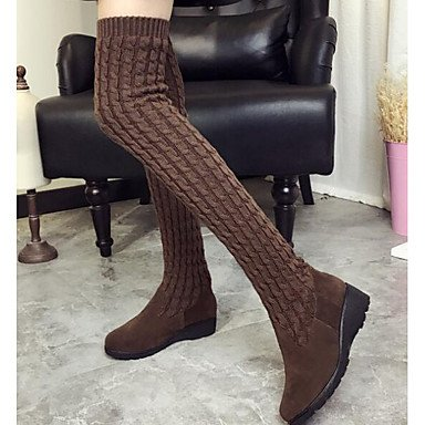 Knee Comfort Nubuck EU36 Black Boots Shoes Fall Casual Leather UK3 US5 5 The Knit Spring Brown Women'S Boots RTRY Over For CN35 5 t0wAPq
