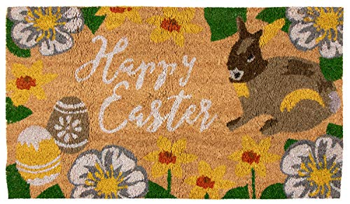 Natural Coir Door Mat - Happy Easter Indoor Outdoor Welcome Doormat, Easy Clean, PVC Anti-Slip Backing Front Entry Mats, Bunny, Easter Eggs, Spring Flowers Design, Brown, 17.2 x 30 x 0.5 Inches ()