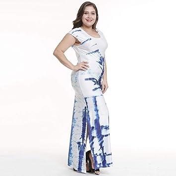 TDPYT Tenedor Estampado Vestidos/Vestidos Grandes De Color Puro Azul M