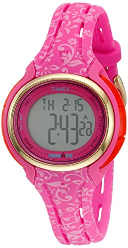 Pink Flower Girl Watch (Timex Women's TW5M03000 Ironman Sleek 50 Pink Floral Silicone Strap Watch)