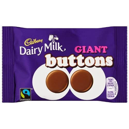 Cadbury Dairy Milk Chocolate Giant Buttons Bag, 40g (Pack of 18)
