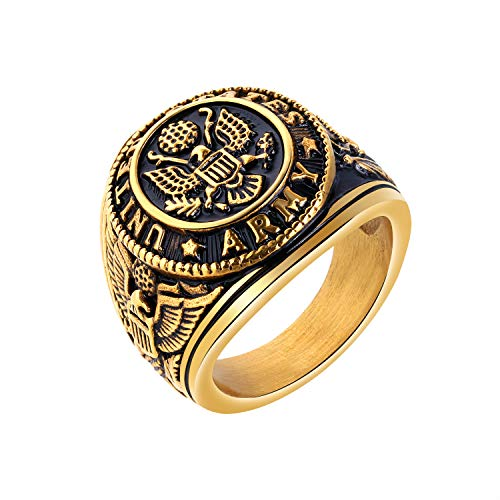 TEMICO Men's Stainless Steel Domineering Vintage United States Army Military Ring Gold/Silver Color - Gold Military Ring