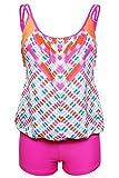 Aleumdr Women's Tankini with Triangle Briefs Boy Bottom Swimsuit Swimwear S-XXXL
