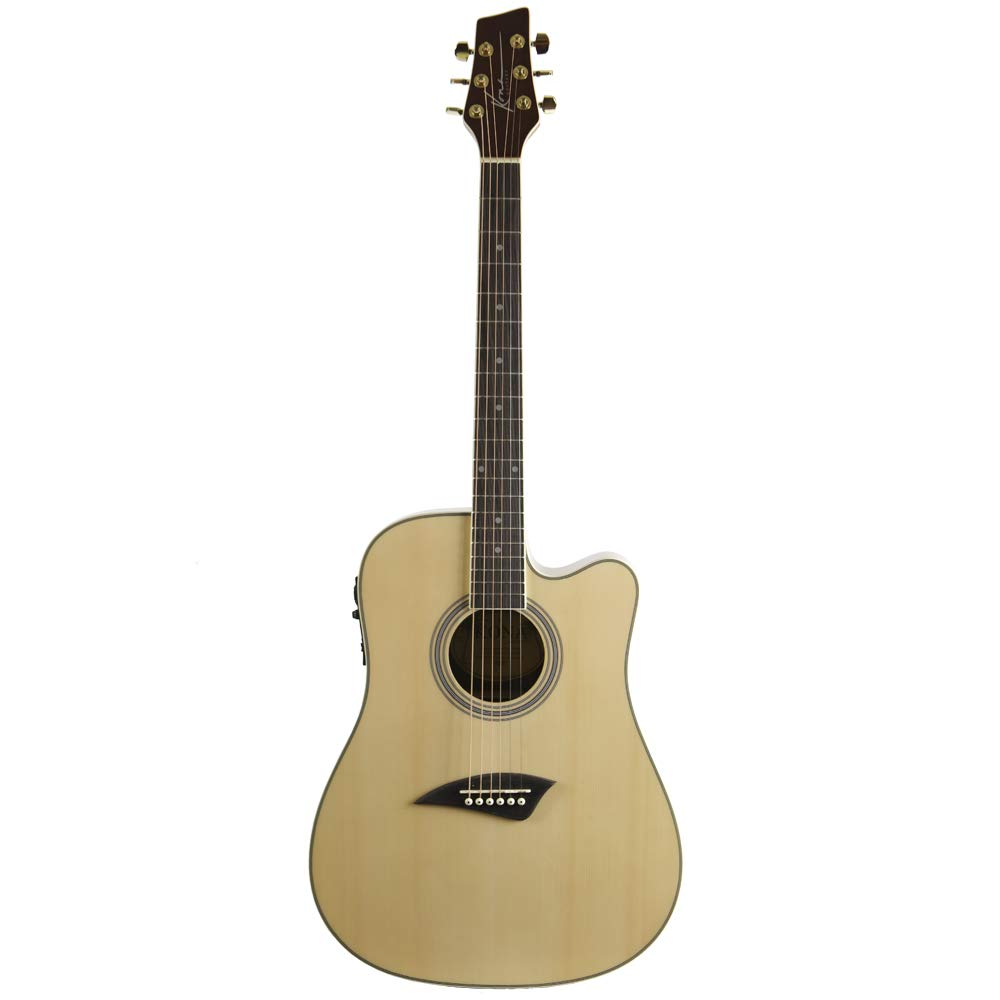 Kona K2 Acoustic Electric Dreadnought Cutaway Guitar in Natural High Gloss Finish