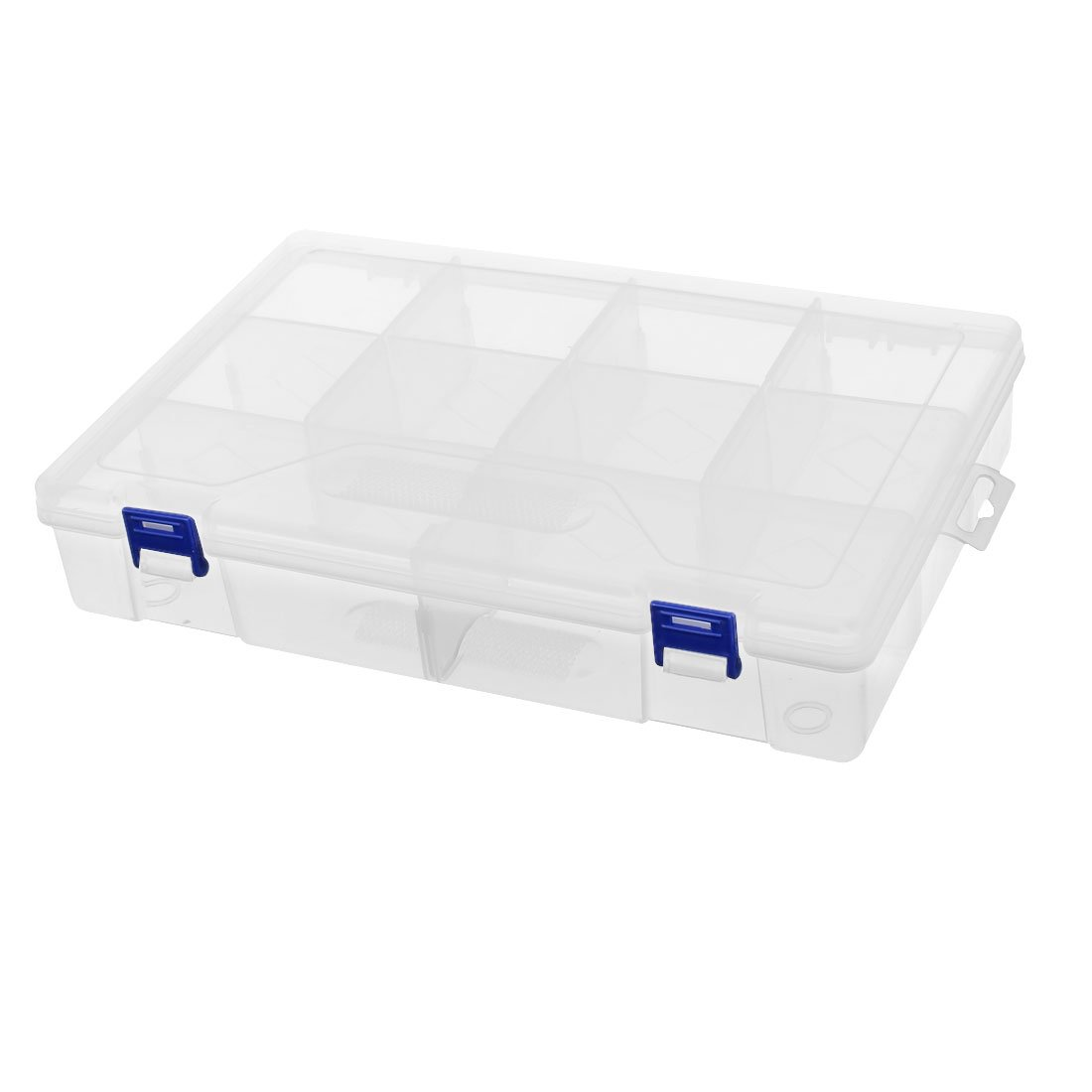 uxcell PP Plastic 10 Slots 2 Buckle Clear Component Storage Organizer Case Box DIY Tool