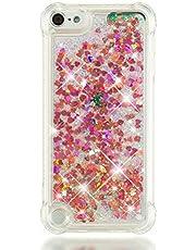 SEYCPHE Funda iPod Touch 6, Silicona Carcasa Dura Brillante Brillo Purpurina llamativa Transparente Cristal Bumper Fundas para Apple iPod Touch 6 - Oro Rosa Poco Amor