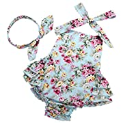 PrinceSasa Baby Girl's Floral Ruffles Romper Summer Clothes,Mint,7-12 Months(Size M)