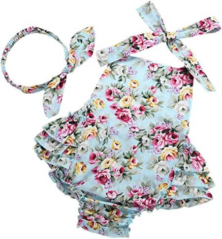 Fubin Baby Girl's Floral Print Ruffles Romper Summer Clothes with Headband