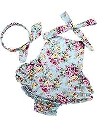 Baby Girl's Floral Print Ruffles Romper Summer Clothes Headband