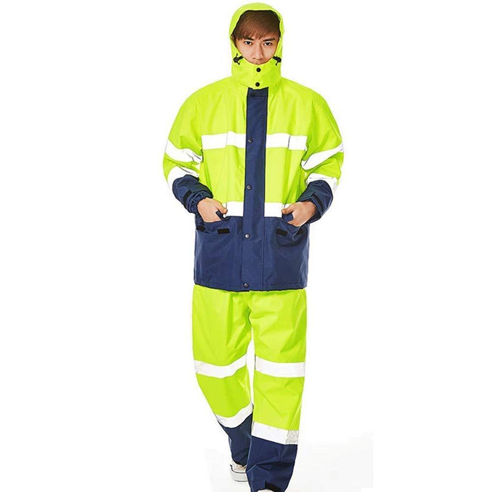 Erwachsene Regenmäntel Geyao Sicherheit reflektierende Streifen Split Regen Kleidung passt verkehrspflichtige Männer und Frauen im Freien aufgeteilte Reiten