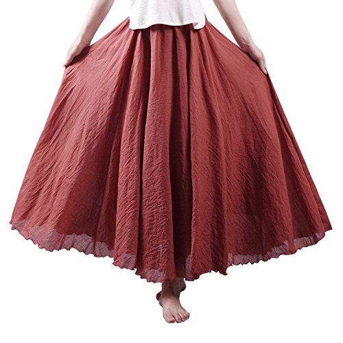 Vintage Rouille Haute Linen Cotton Fashion Elastique Maxi Femme Uni Startreene Jupe Taille Casual Rouge Couleur Longue AT6OTR1