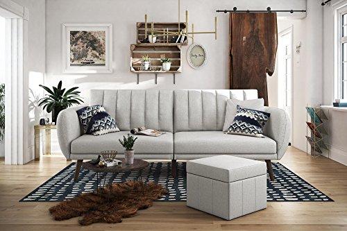 Novogratz Brittany Sofa Futon, Premium Linen Upholstery and Wooden Legs, Grey Linen
