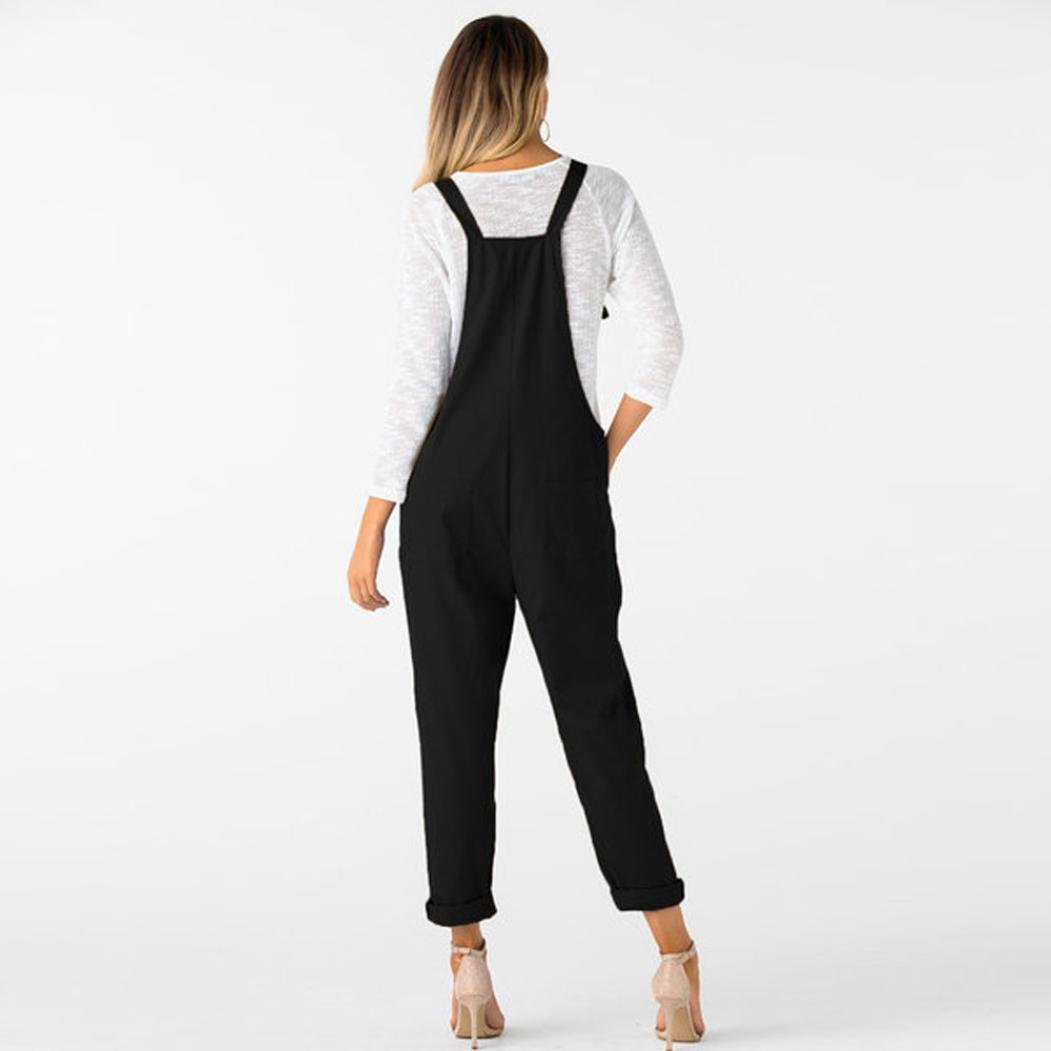 69f44001786 Anglewolf Women s Casual Dungarees Loose Long Pockets Rompers Cotton  Jumpsuit Trousers Ladies Mid Waist Sleeveless Solid Classic Jumpsuits Daily  Leisure ...