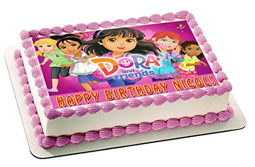 Dora and Friends 2 Edible Birthday Cake OR Cupcake Topper - 10 x 16' rectangular inches