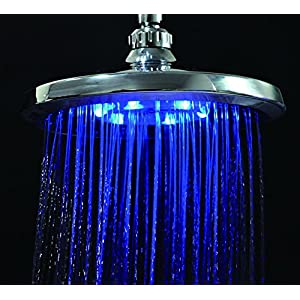 Luxury Chrome LED Shower Head - High Pressure - 3 Color Changing Water Temperature Sensor - No Batteries Required - Wall Mounted - By Utopia Home (Large LED)