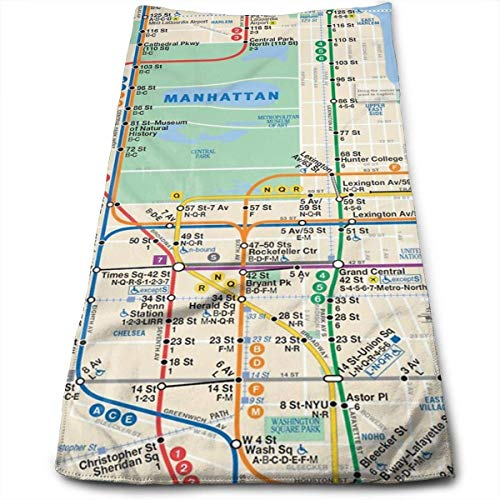 York Map New Subway Manhattan - KIMILT HEY Multi-Purpose MTA Subway Map New York Manhattan Phone Case Compressed Fashion Printing Decor Soft Super Bbsorbent, for Hair Care, Beauty, Sports, Car Sassafras, Furniture Towels-12x27.5 in